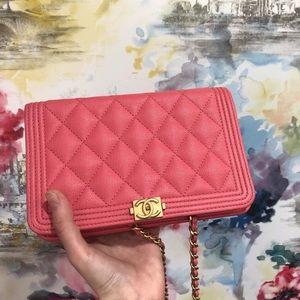 CHANEL Caviar Quilted Boy Wallet On Chain WOC Pink